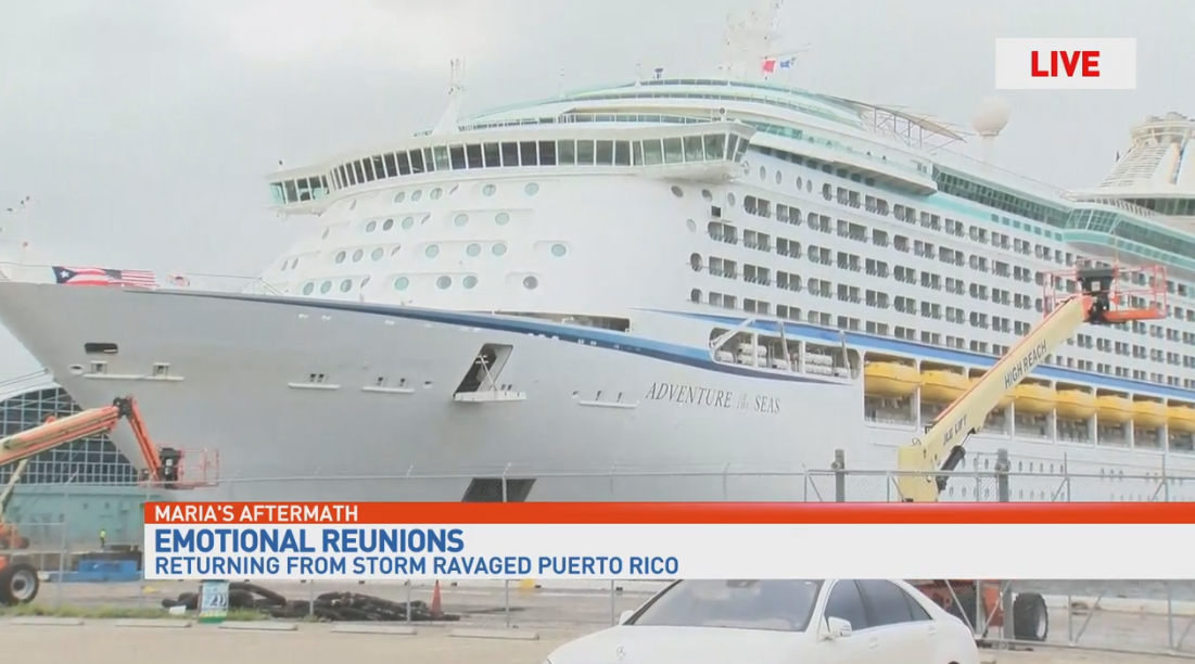 Adventure of the Seas brings evacuees from Puerto Rico to Fort Lauderdale. (WPEC)