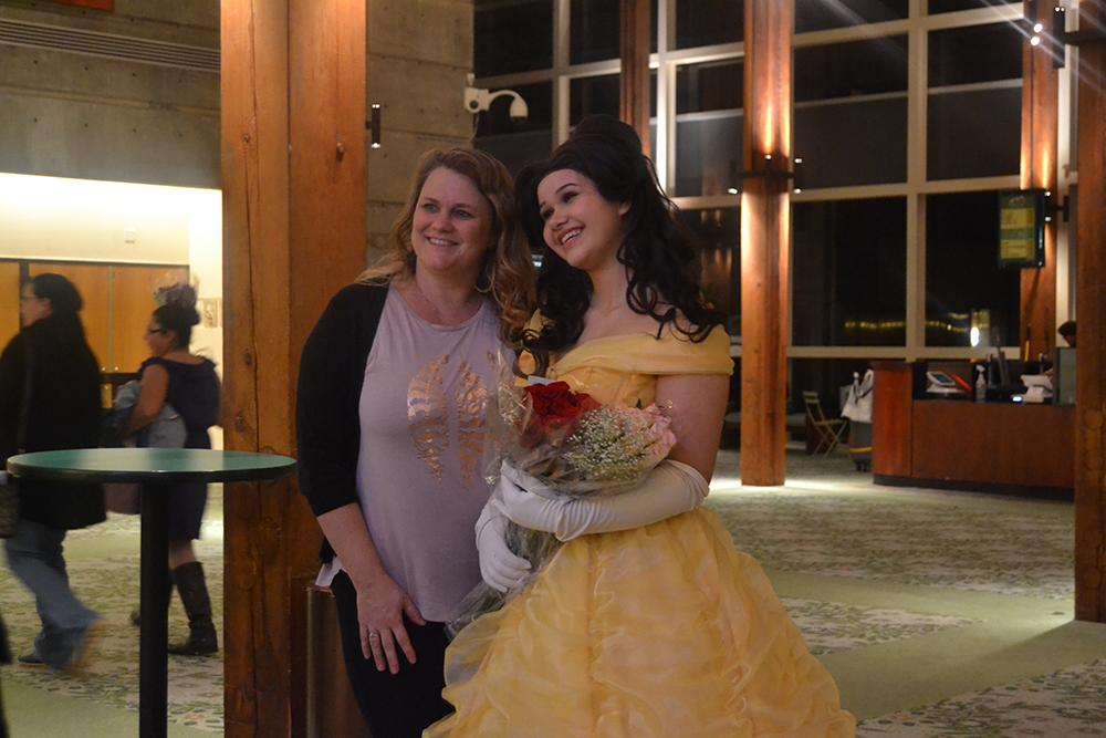 Jordan King, 15, played the lead character Belle and greeted friends and younger girls in the Hult Center lobby after the play ended. Photo by Taylor Perse.