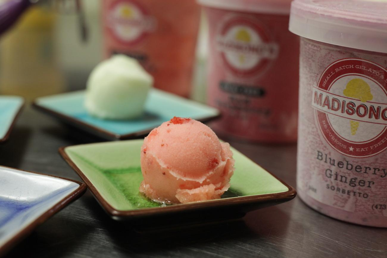 Strawberry Lemon Sorbet is just one of 16 flavors that Madisono's offers in pints. Others include Blueberry Ginger (foreground) and Madagascar Vanilla (background). / Image: Chez Chesak{ }// Published: 2.18.19
