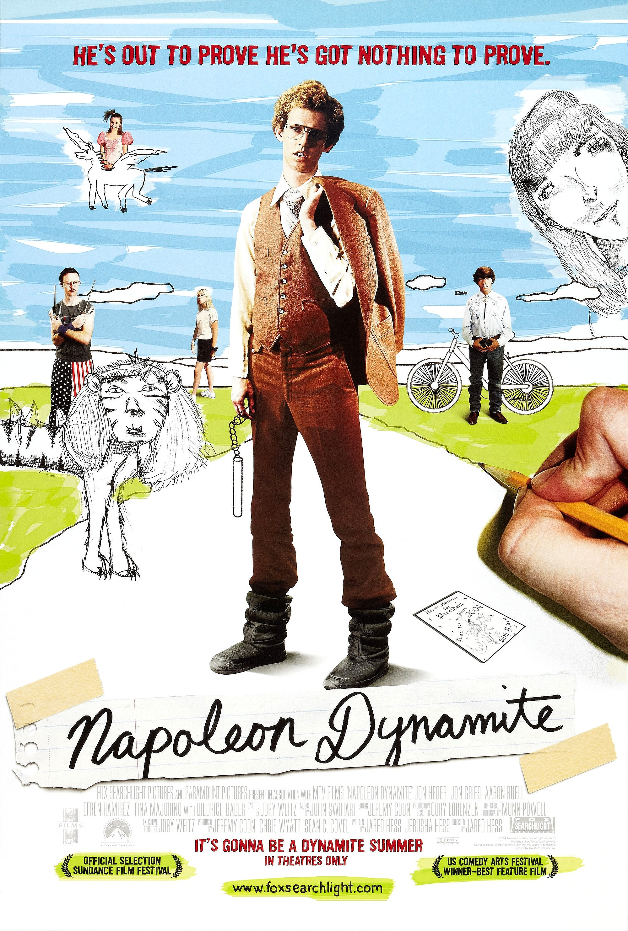 The cult comedy Napoleon Dynamite turns 15 years old this month, a milestone for a movie that became an early breakaway hit in today's era of pop-culture geek celebration. (Photo courtesy of impawards.com)
