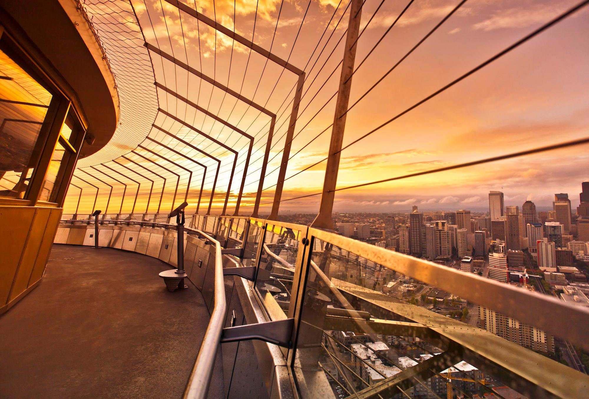 Seattle Needle observation deck at dusk. (Photo courtesy of Seattle Needle)