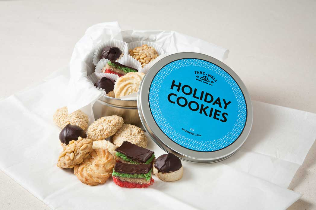 Vegan Holiday Cookie Tin from Fare Well // Price: $30 // Buy at Fare Well or online // www.eatfarewell.com // (Image: Fare Well)
