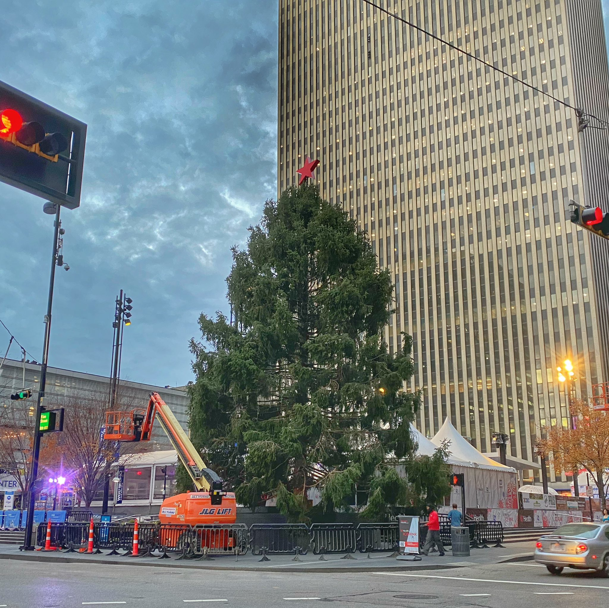 The Fountain Square Christmas tree made headlines this year because it looked a little haggard while it was being placed, and we're thankful it's looking mighty full after crews worked their magic. Though 2020's been anything but routine, it's reassuring to see an annual holiday tradition continue. / Image: Bob Schwartz // Published: 11.26.20