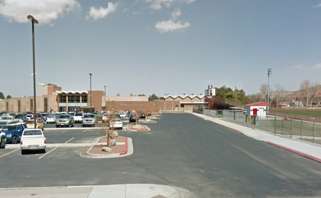 "FILE - A southern Utah city council is delaying a vote about whether to make a water tank adorned with a painted image of a Native American and the name ""Redmen"" an official city monument. (Photo: Screengrab from Google Maps){ }"