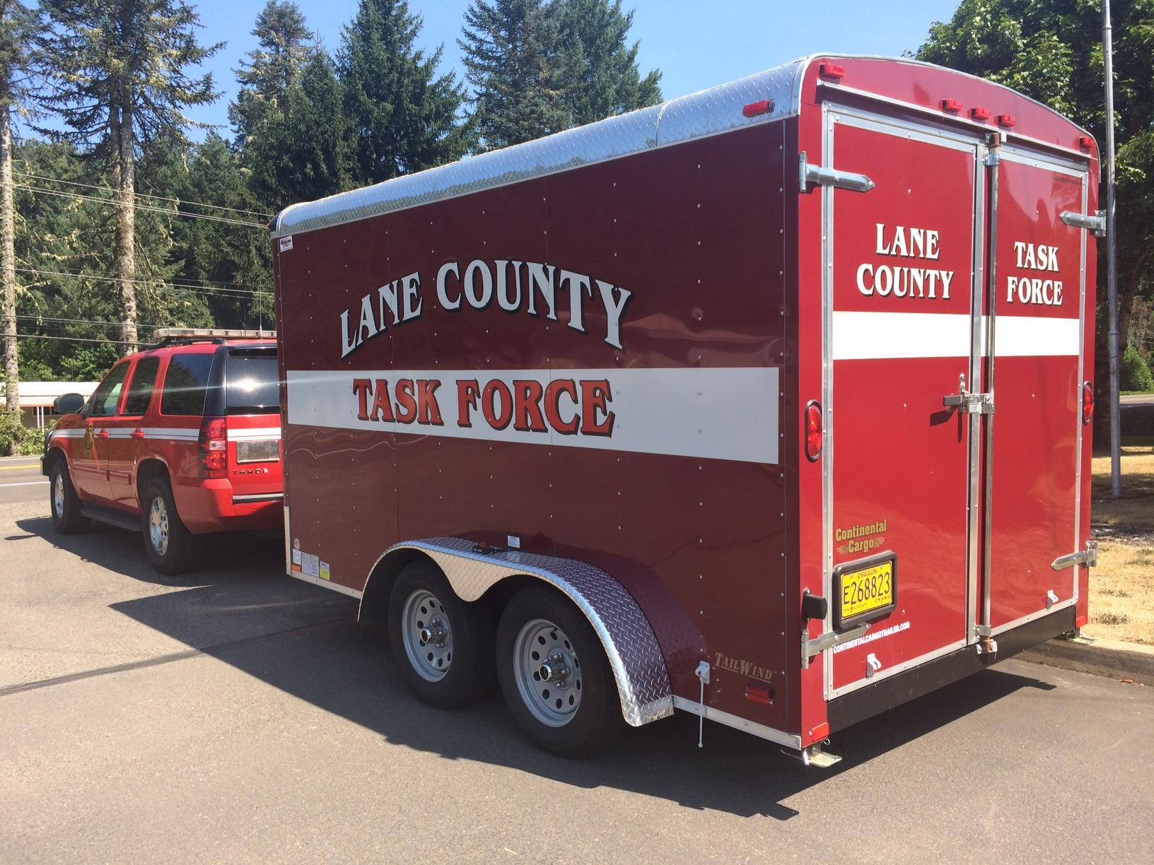 The Lane County Task Force mobilized to the Milli Fire today . Photo by Ellen Meny.