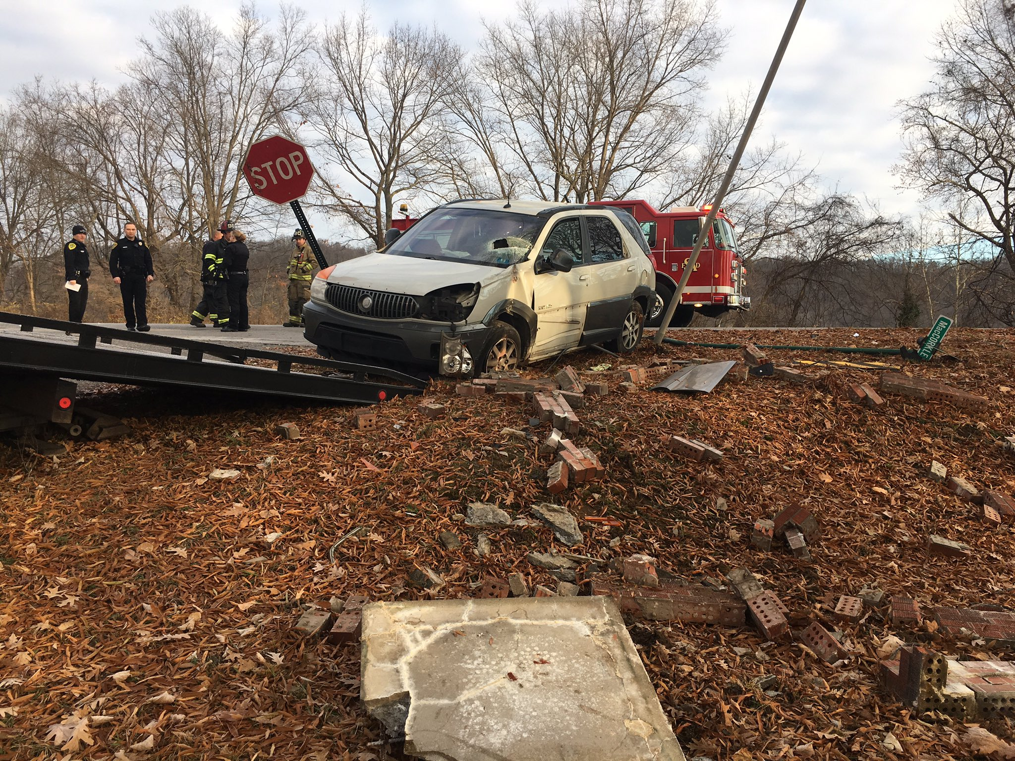 <p>St. Albans police say a sport utility vehicle was struck by a pickup and took out a decorative wall at MacCorkle Avenue and Decharms Street. (WCHS/WVAH)</p>