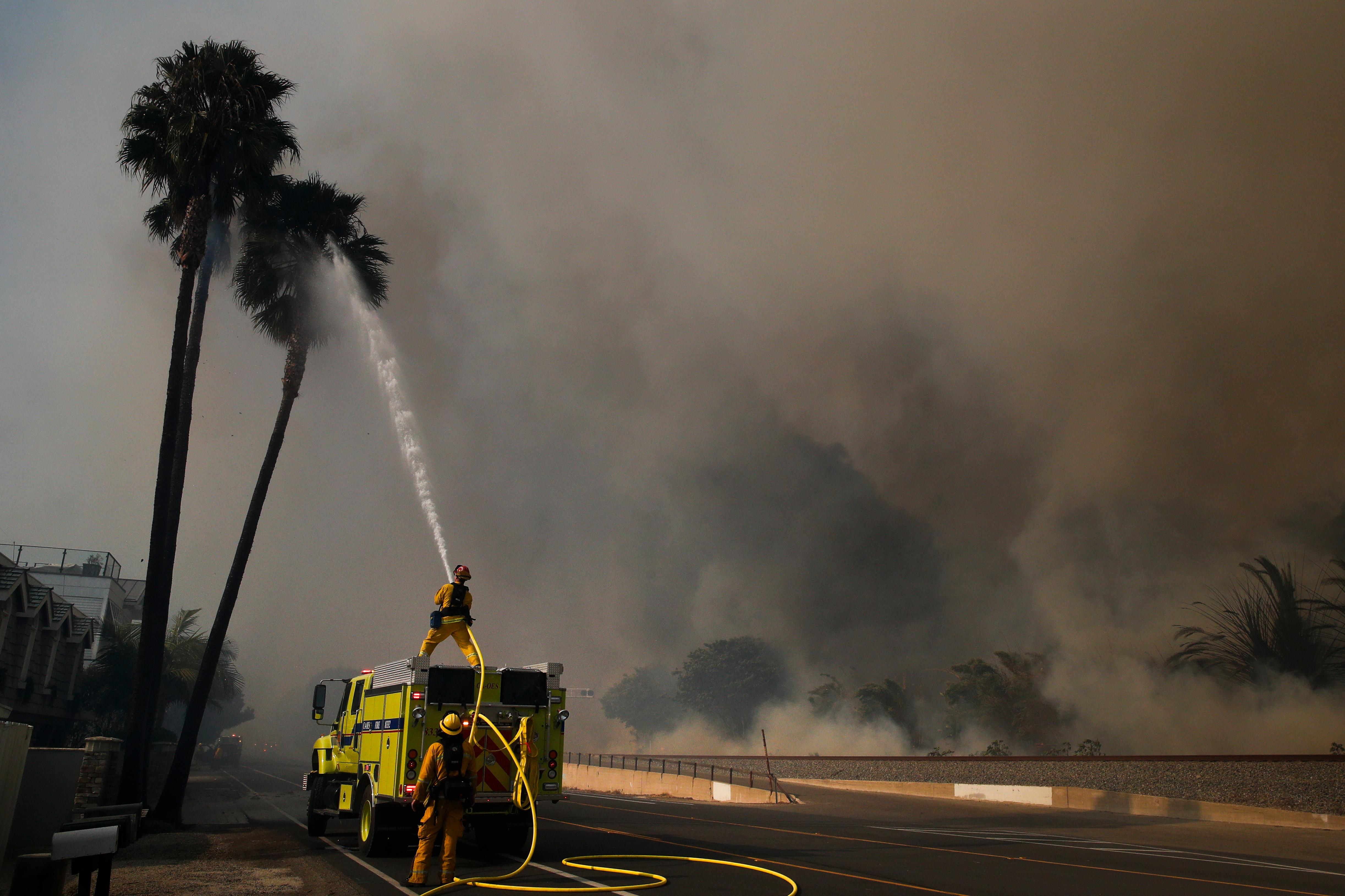 Firefighters battle a wildfire as smoke rises from burning palm trees at Faria State Beach in Ventura, Calif., Thursday, Dec. 7, 2017. The wind-swept blazes have forced tens of thousands of evacuations and destroyed dozens of homes. (AP Photo/Jae C. Hong)