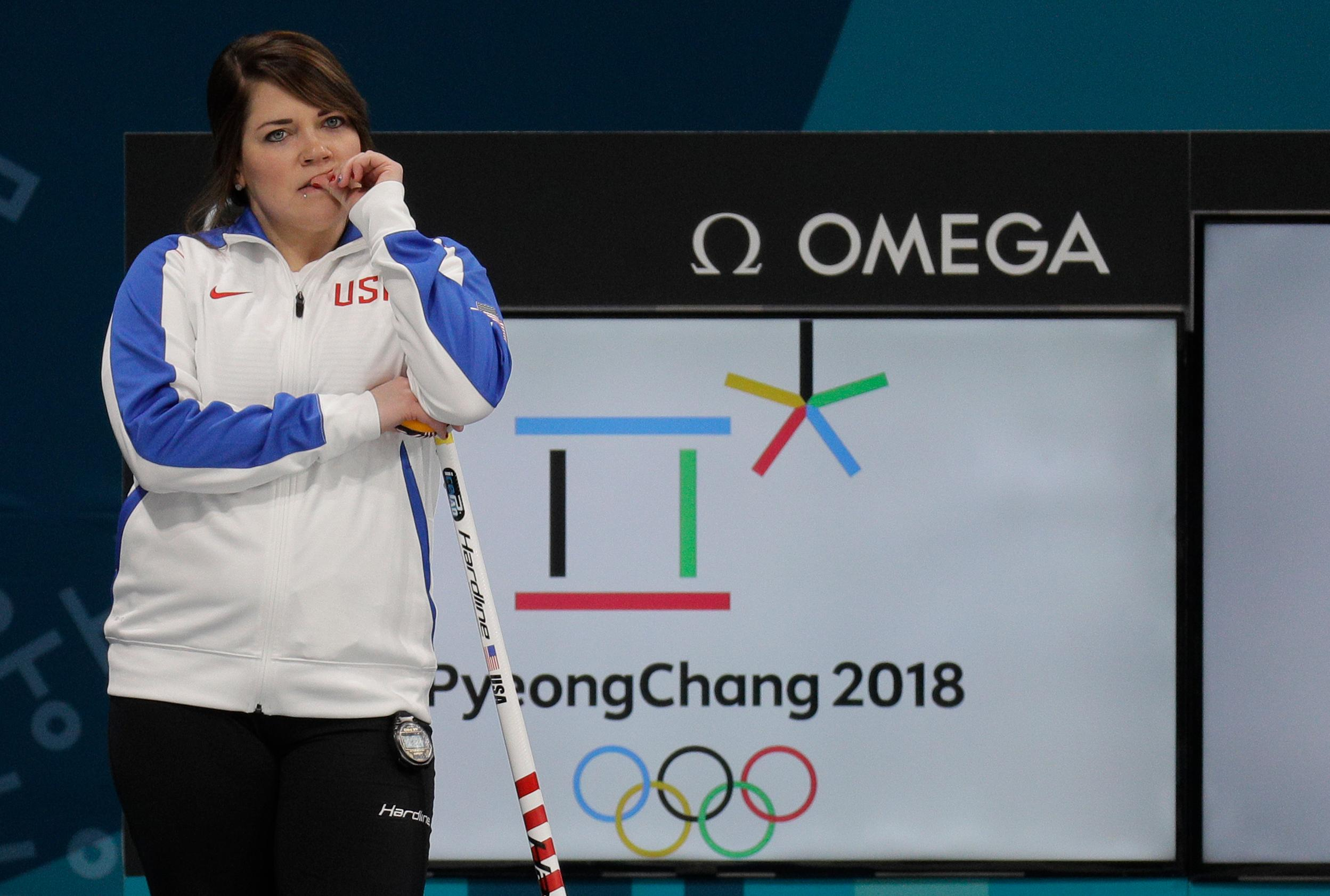 United States' mixed doubles curler Becca Hamilton waits for her turn during training session ahead of the 2018 Winter Olympics in Gangneung, South Korea, Wednesday, Feb. 7, 2018. (AP Photo/Aaron Favila)