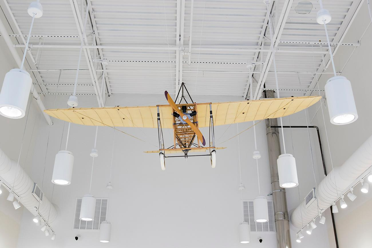 <p>A replica of Harriet Quimby's plane. She was the first woman to not only earn an American pilot's license, but also the first woman to fly across the English Channel. / Image: Allison McAdams // Published: 12.22.18</p>