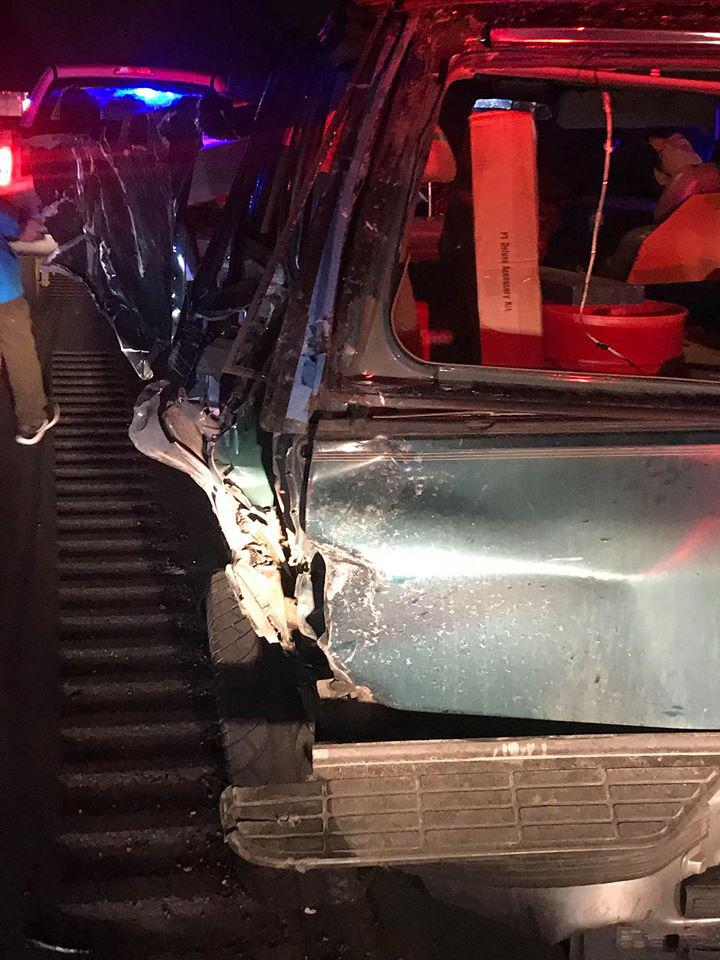 Patrick Sheehan Jr.'s 1995 Chevy Tahoe was heavily damaged after it was hit by a semi-truck on Interstate 84 on Monday. He had pulled over to the side of the road because his vehicle had run out of gasoline. (Photo: Patrick Sheehan Jr./Facebook)