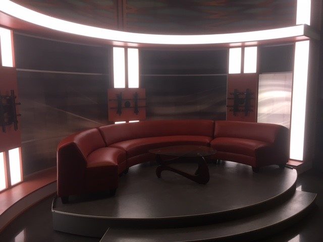 The custom couch for the Good Day Columbus set can seat up to 9 people (WSYX/WTTE)<p></p>