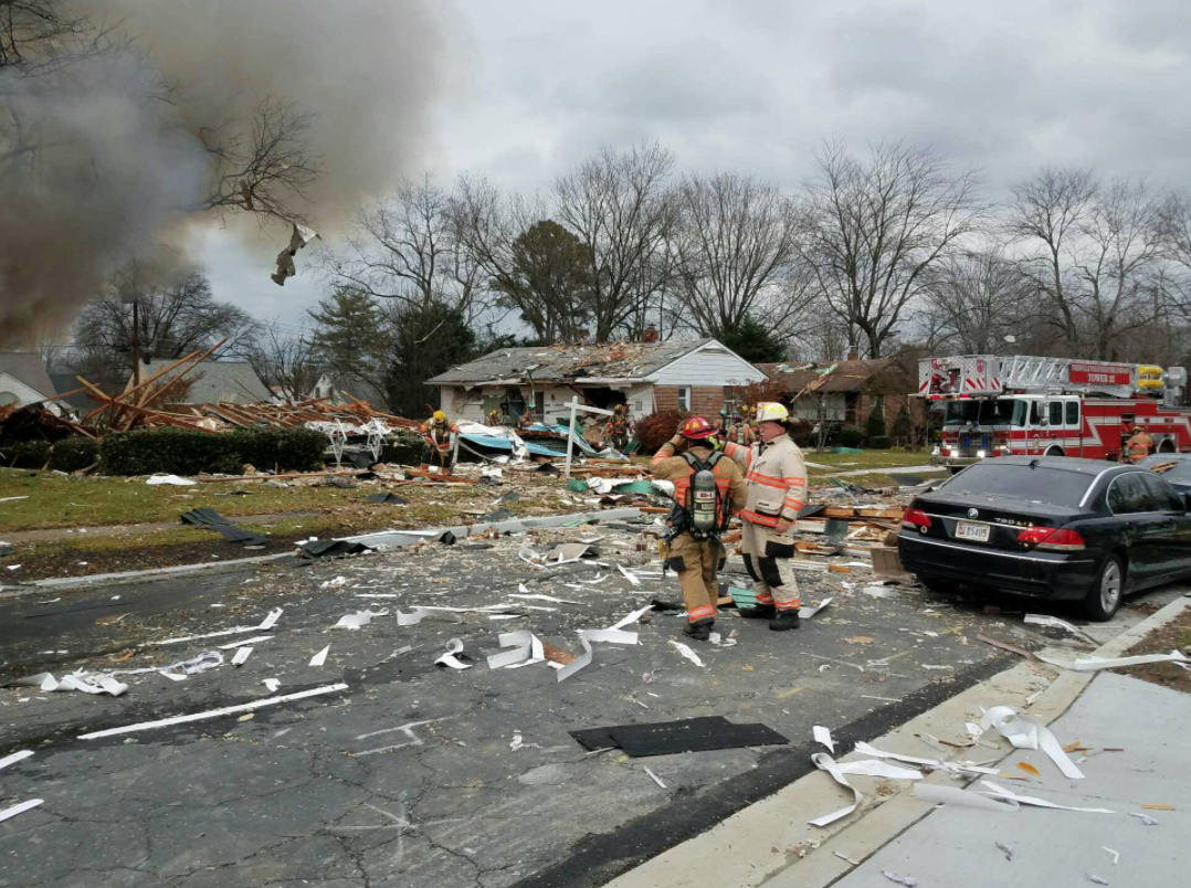 Fire officials are on the scene of a house fire and explosion in a neighborhood Baltimore, Md.  Tuesday, Dec. 5, 2017 (Photo courtesy of Baltimore County Police and Fire Department/Twitter)
