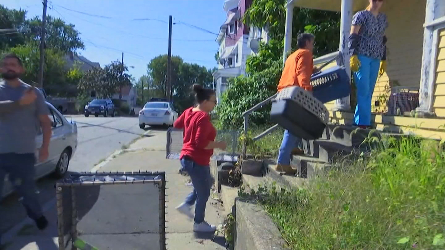 Only NBC 10 News cameras were recording as members of the Rhode Island Society for the Prevention of Cruelty to Animals raided an abandoned, foreclosed house as part of a hoarding investigation on Tuesday, Oct. 3, 2017. (WJAR)