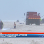 Beach warning signs for Ft. Morgan on the way