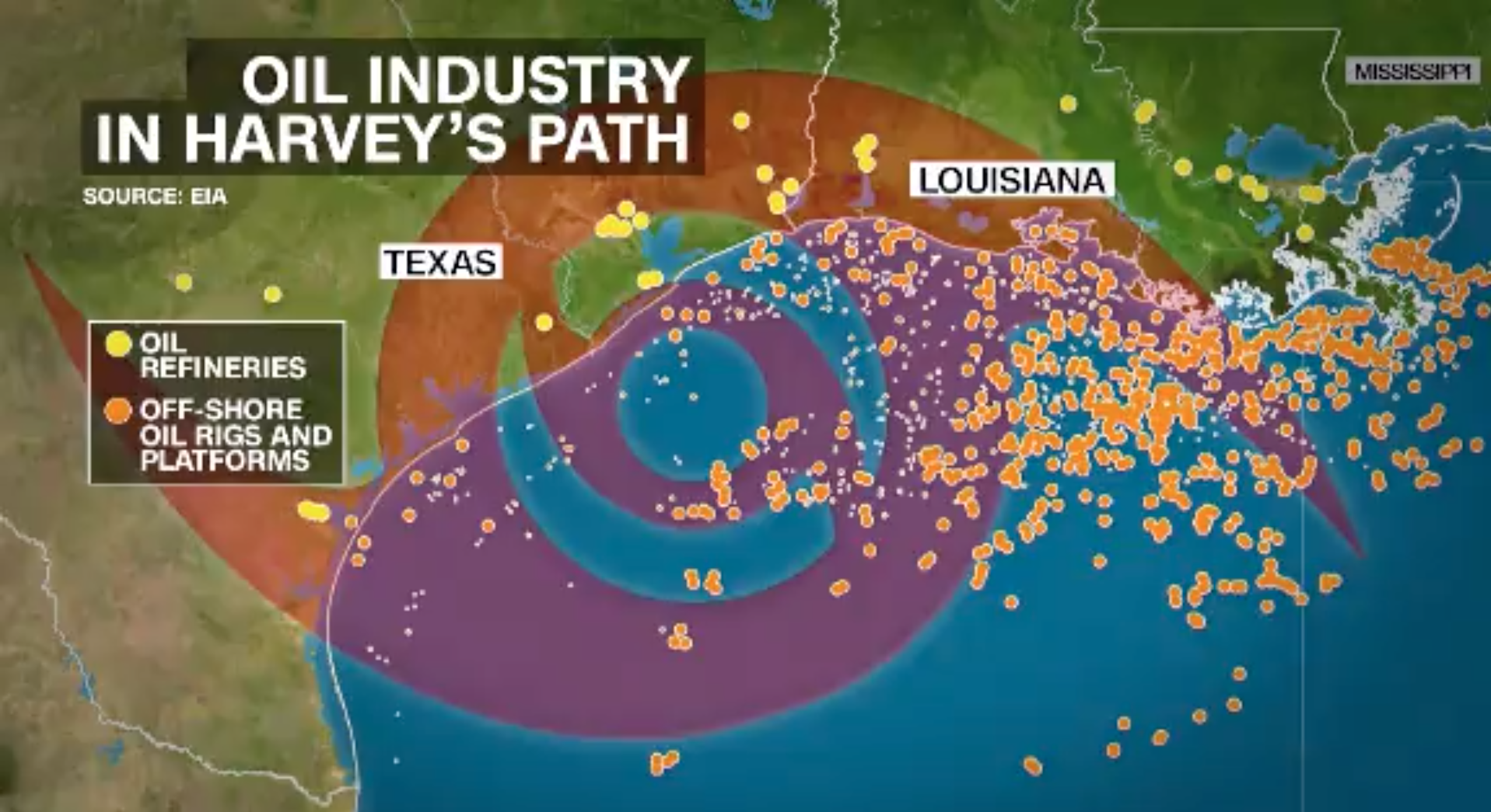 Image of  oil refineries and off-shore oil rigs and platforms in the path of Harvey. the Photo: CNN