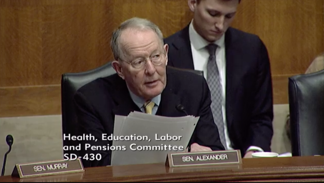 Committee Chairman Sen. Lamar Alexander, R- Tenn. /Photo:{&amp;nbsp;}Senate Committee on Health, Education, Labor and Pensions<p></p>