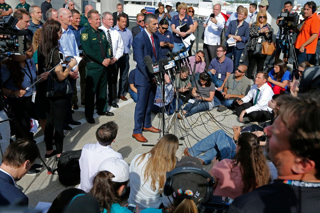 George Piro, special agent in charge of the FBI's Miami Division speaks during a news conference at Fort Lauderdale-Hollywood International Airport Terminal,  Saturday, Jan. 7, 2017, in Fort Lauderdale, Fla.   Authorities say Army veteran Esteban Santiago of Anchorage, Alaska, drew a gun from his checked luggage on arrival and opened fire on fellow travelers on Friday.  (Al Diaz /Miami Herald via AP)