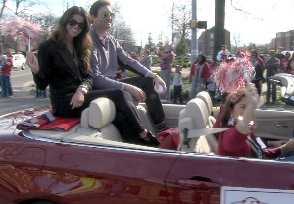 Alabama receivers coach Mike Groh and his wife during the BCS National Championship parade on Saturday, January 19, 2013.