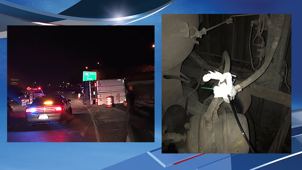 The State Patrol believes faulty brakes may have caused a semi truck to crash on the State Route 16 interchange with northbound Interstate 5 in Tacoma Tuesday night. (Photo: Washington State Patrol)