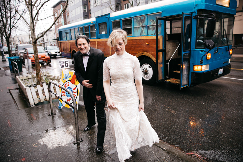 "Ryan & Tracey wed in February and had a beautiful and quintessential ""rainy day in Seattle"" wedding. The couple strolled through Seattle, stopping to snap some photos at iconic Seattle locations such as The Pink Elephant Car Wash, Kerry Park, and Archie McPhee. Ryan and Tracey also rolled around in a Big Woody Bus and held their ceremony at Ivar's Salmon House. How cute is that?! Click through the gallery and get wedding inspo, or to just gaze upon the beauty that is this glorious wedding. Do you or somebody you know have a wedding you think deserves the spotlight? We LOVE (pun intended) documenting love stories, so email us at hello@seattlerefined.com to submit some wedding or engagement shots! (Image: Jenny GG Photography)raphy)"