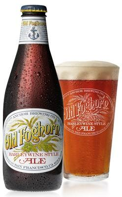 This English Barleywine style brew from San Francisco's Anchor Steam Brewery contains no wine, but is so named because the alcohol strength approaches that of wine. Old Foghorn uses three times the malt of most beer styles.