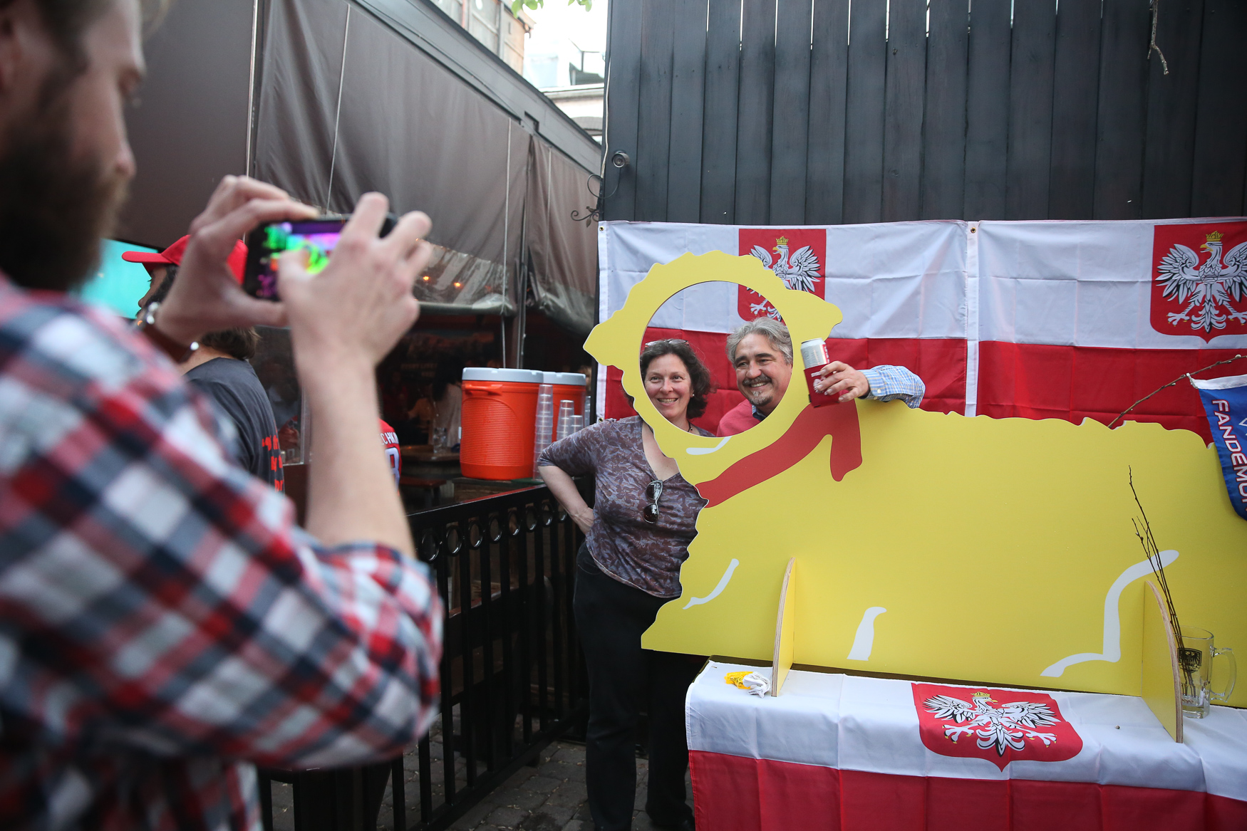 Dyngus Day, a traditional Polish holiday that follows Easter, came to H Street NE at Biergarten Haus. The festivities included polka music, participants spraying each other with water guns and whacking each other with pussy willow, in accordance with tradition. The bar also offered traditional snacks like perogies and sausage. (Amanda Andrade-Rhoades/DC Refined)