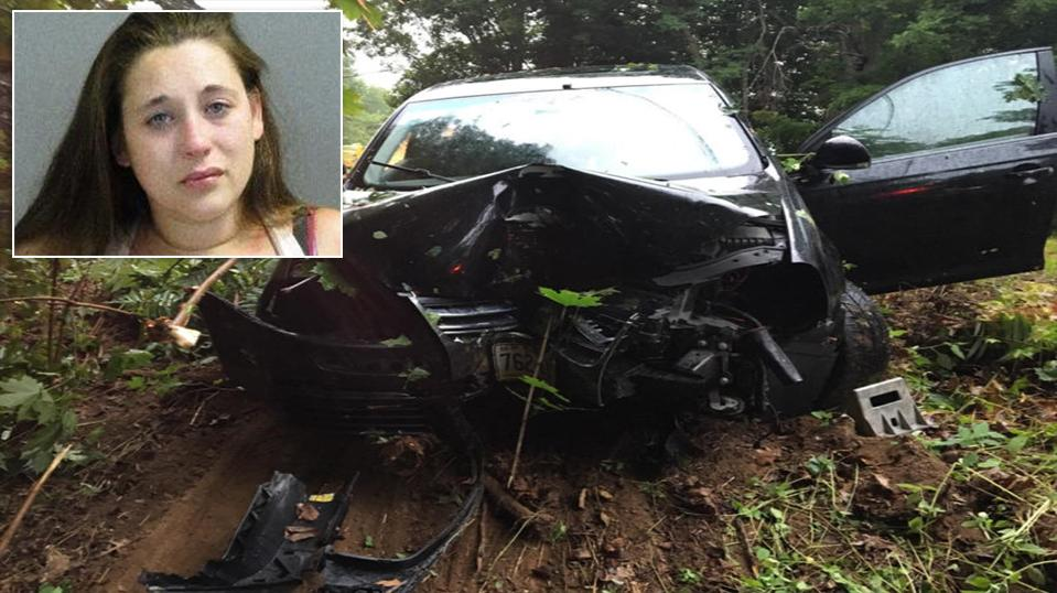 According to the Lincoln County News, 24-year-old Brittany Burns was driving on Back Meadow Road around 6:30 a.m. Tuesday in Damariscotta when her vehicle left the road and hit a tree. (Damariscotta Police Department & Two Bridges Regional Jail via Lincoln County News)