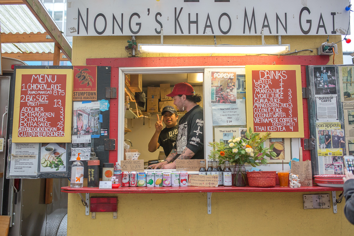 Everyone recommended the simple, but perfectly cooked chicken, rice, sauce and broth from Nong's Khao Man Gai and it didn't disappoint. (Image: Paola Thomas / Seattle Refined)