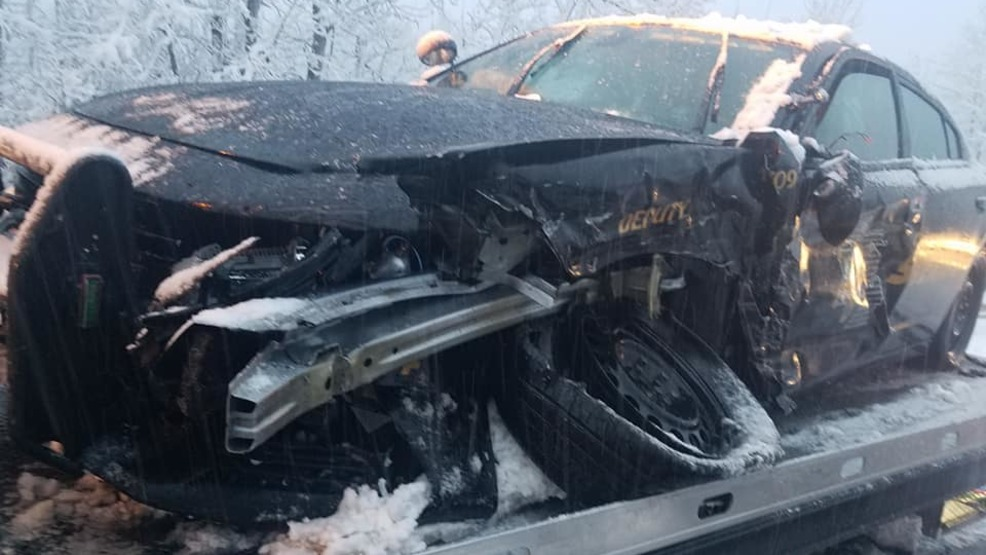 Sheriff warns of snowy conditions after patrol car is