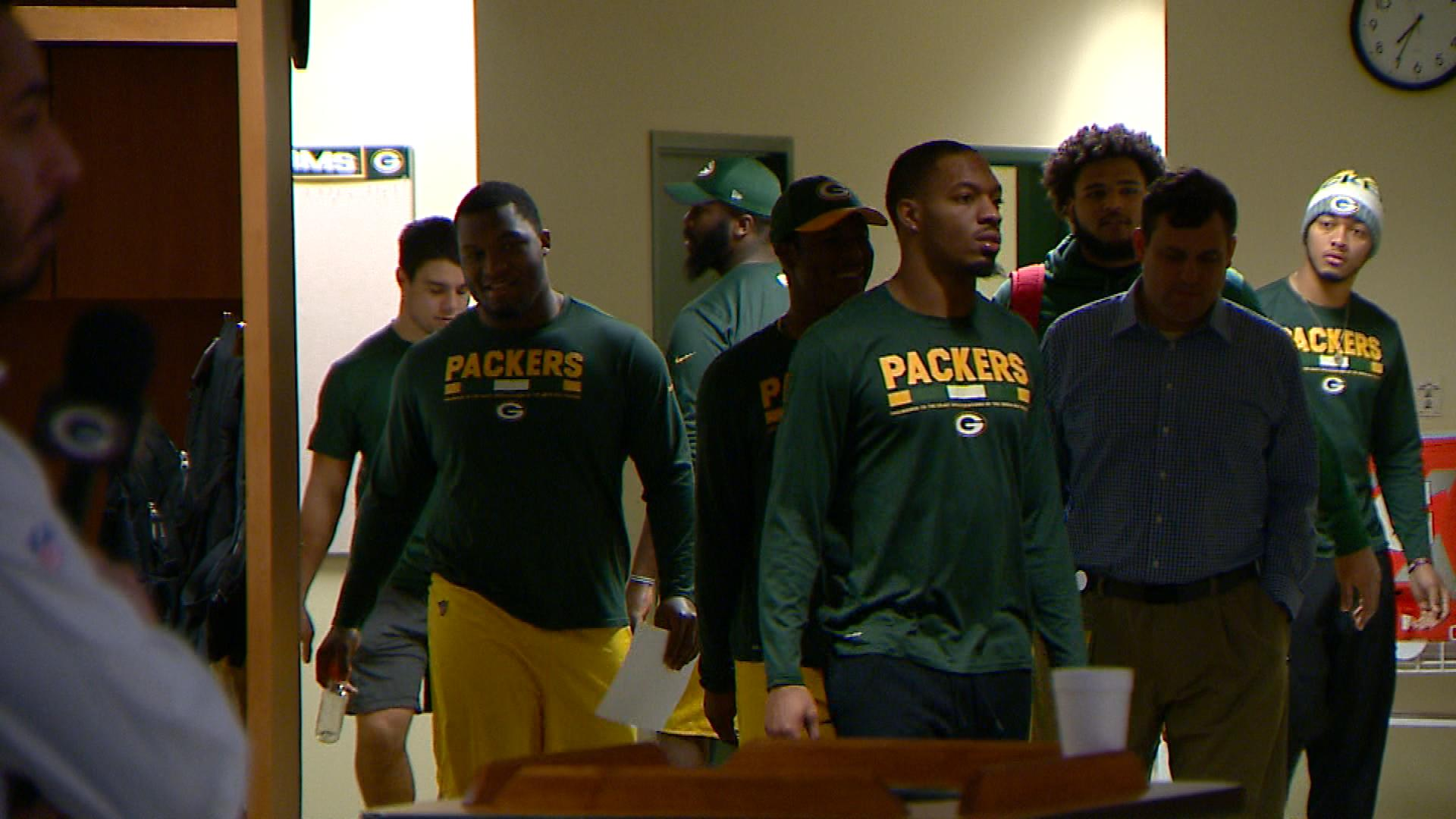 Green Bay Packers players return to the locker room after team meetings Jan. 2, 2018. (WLUK image)<p></p>