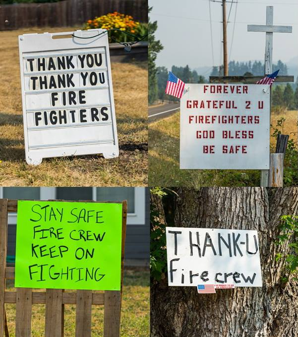 Signs of support for firefighters working the Jones Fire up Fall Creek outside Lowell, Ore. (via Willamette Wildfires 2017)