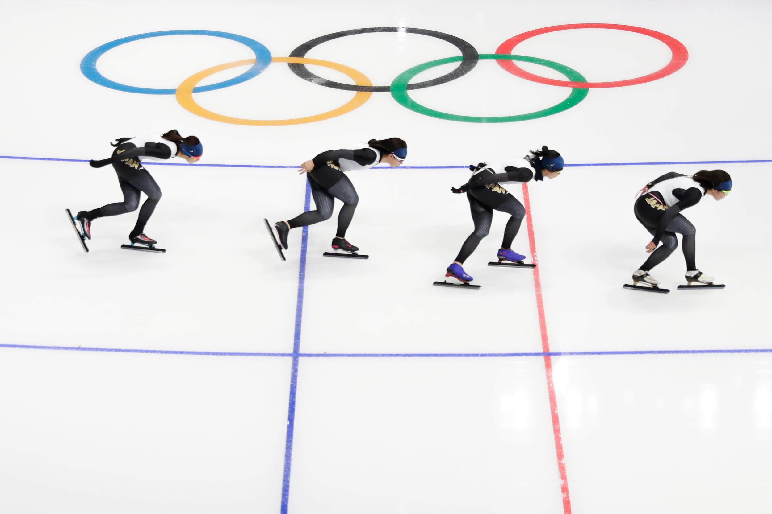 Japan speed skaters practice at the Gangneung Oval during a training session prior to the 2018 Winter Olympics in Gangneung, South Korea, Monday, Feb. 5, 2018. (AP Photo/Felipe Dana)