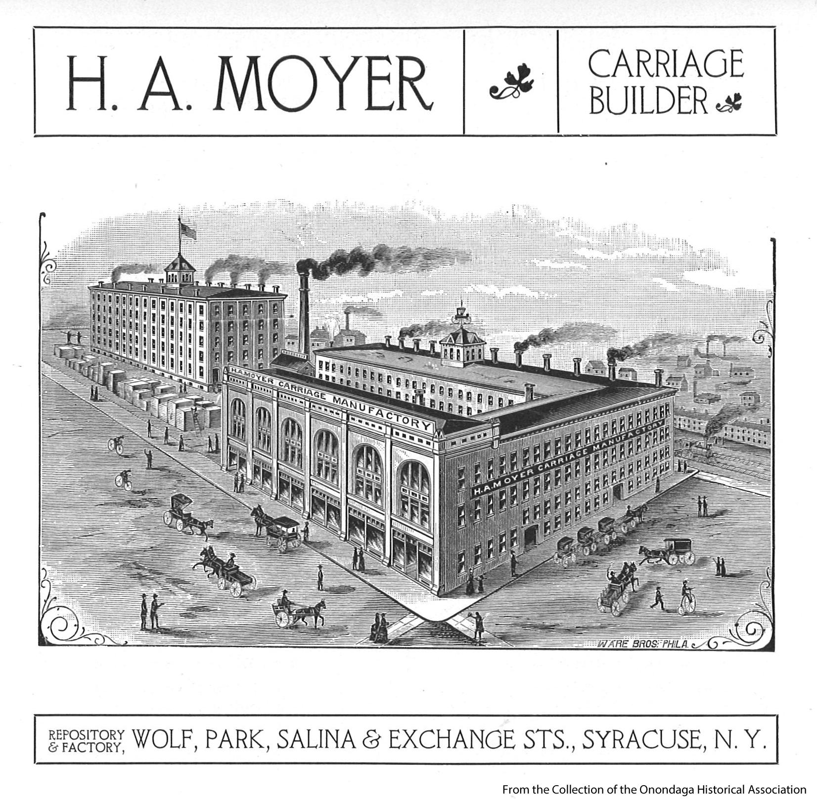 The complex was built in{&amp;nbsp;}1895 to house the H.A. Hoyer Carriage Company. Here is an early postcard. (Onondaga Historical Association.){&amp;nbsp;}<p></p>