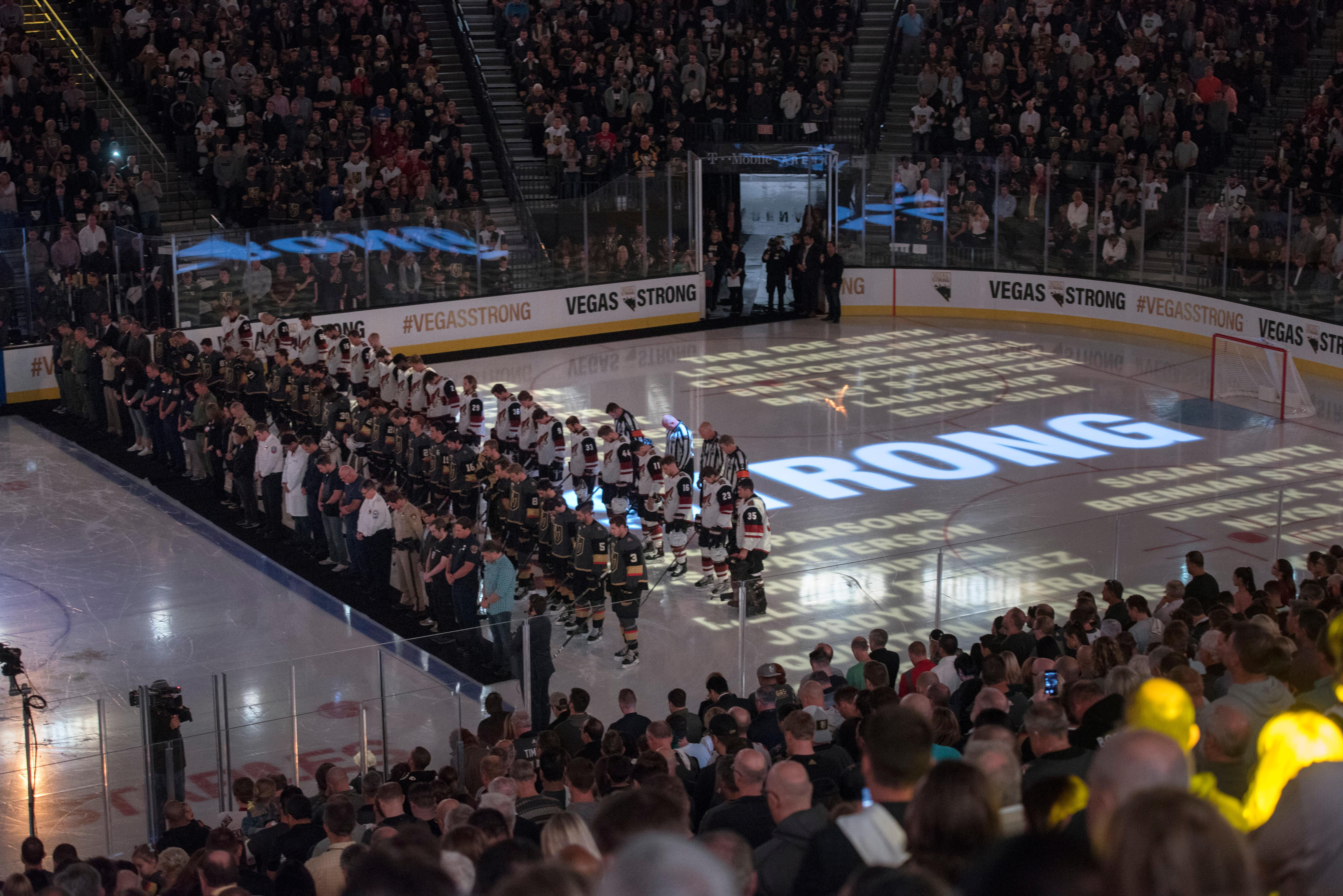 First responders and medical personnel involved in the October 1st tragedy are backed by the Vegas Golden Knights and Arizona Coyotes for 58 seconds of silence before the Knights home opener Tuesday, Oct. 10, 2017, at the T-Mobile Arena. The Knights won 5-2 to extend their winning streak to 3-0. CREDIT: Sam Morris/Las Vegas News Bureau