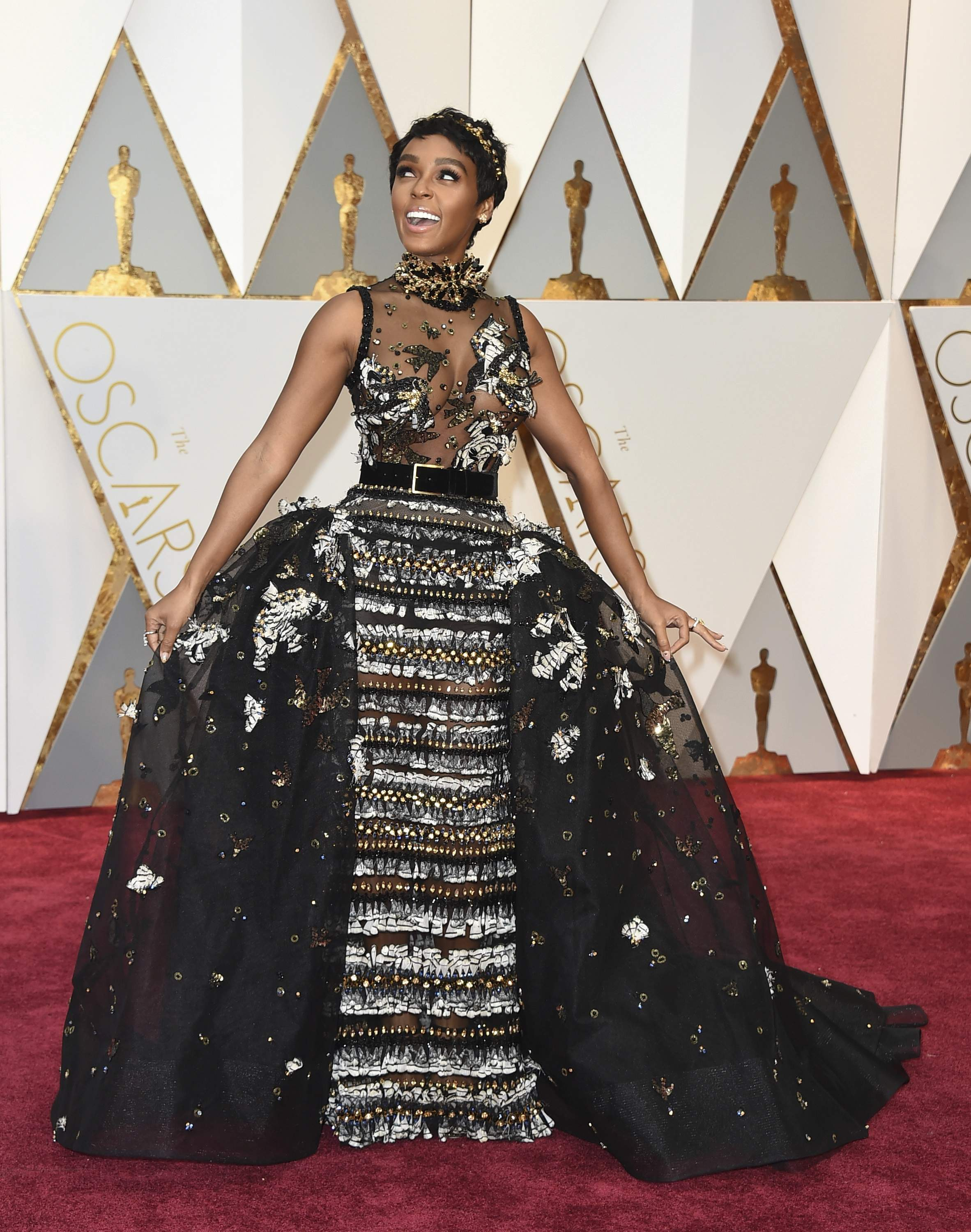 Janelle Monae arrives at the Oscars on Sunday, Feb. 26, 2017, at the Dolby Theatre in Los Angeles. THE ASSOCIATED PRESS
