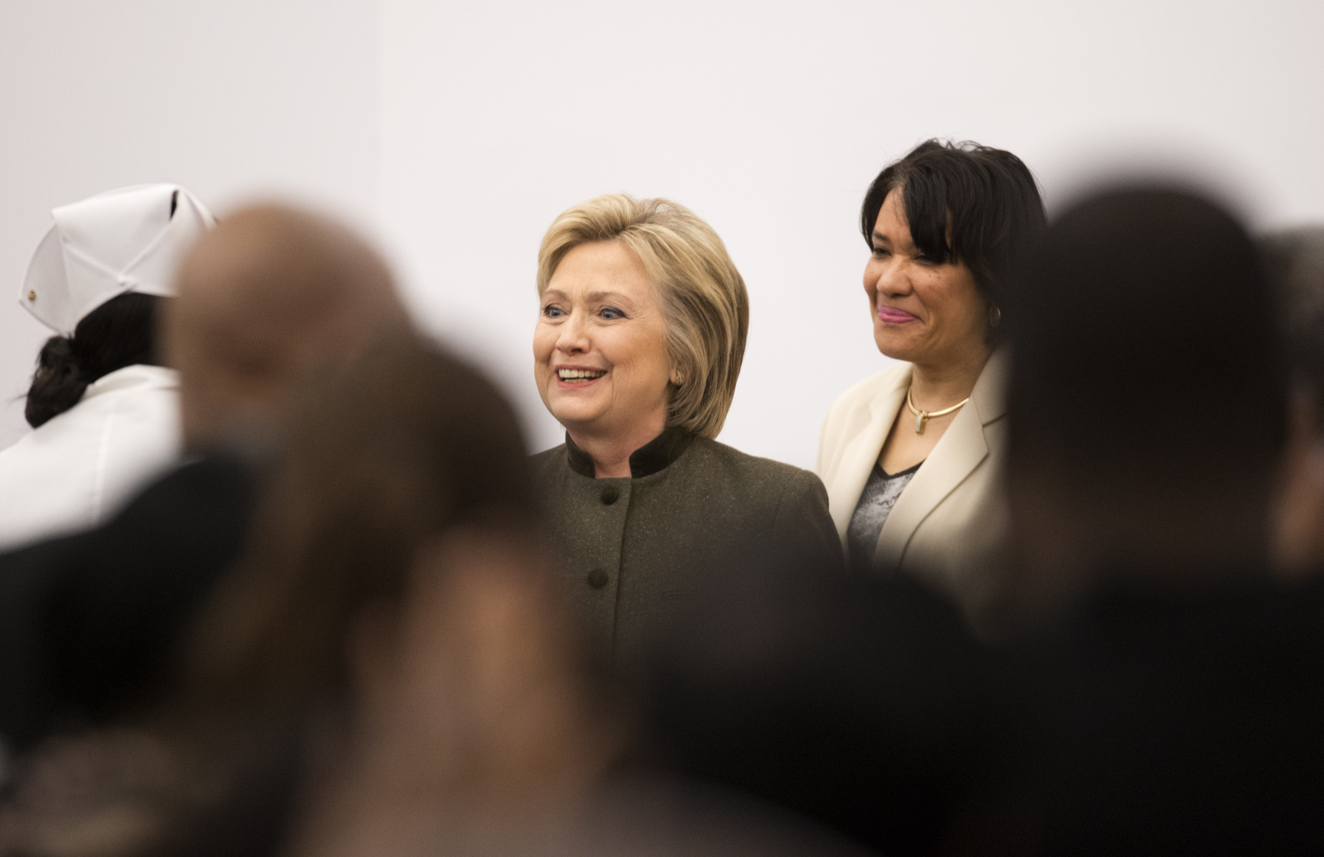 Democratic presidential candidate Hillary Clinton appears with Flint Mayor Karen Weaver at the House Of Prayer Missionary Baptist Church, Sunday, Feb. 7, 2016 in Flint, Mich. (AP Photo/Paul Sancya)