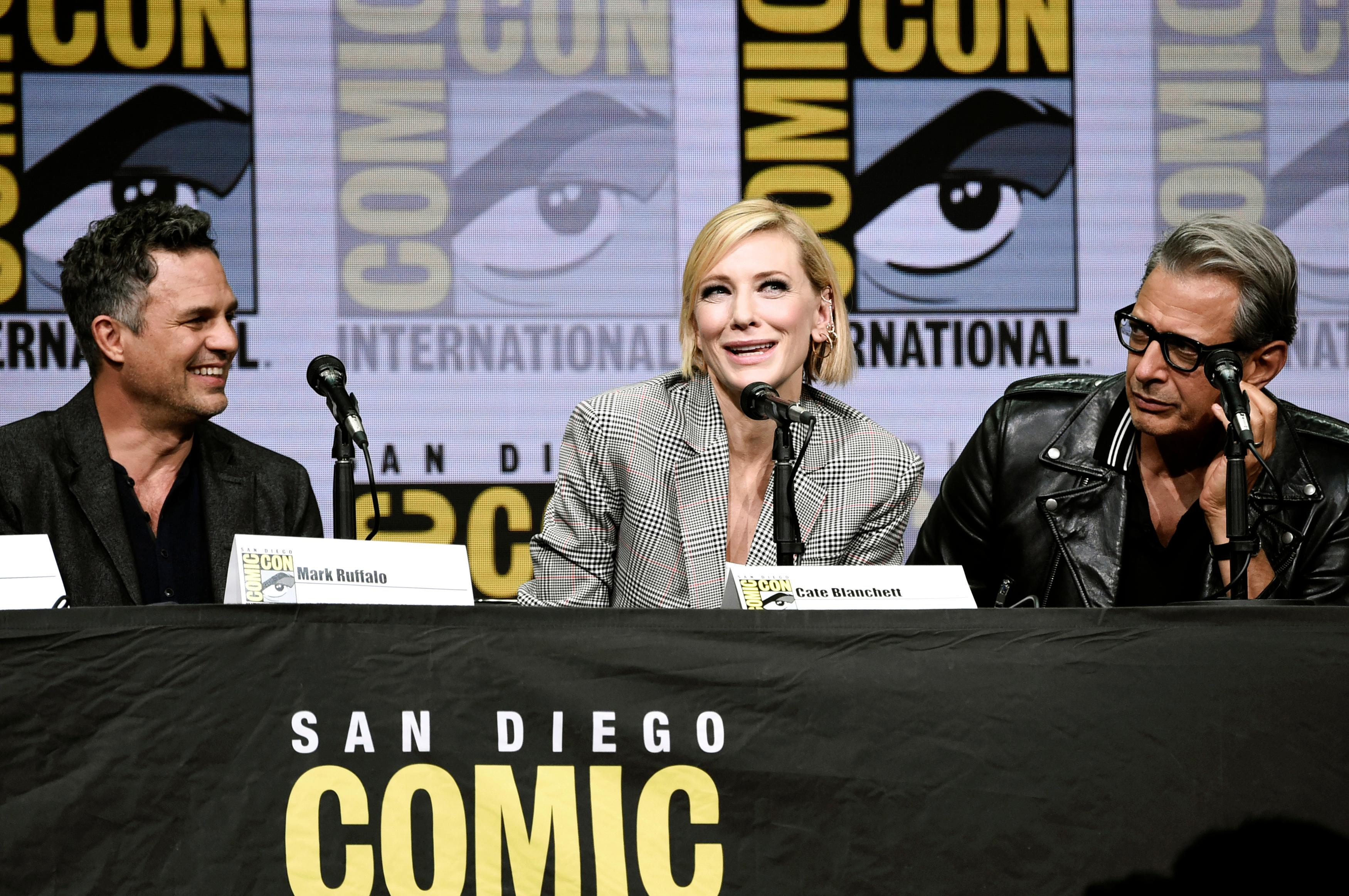 "Mark Ruffalo, from left, Cate Blanchett and Jeff Goldblum attend the ""Marvel"" panel on day 3 of Comic-Con International on Saturday, July 22, 2017, in San Diego. (Photo by Richard Shotwell/Invision/AP)"