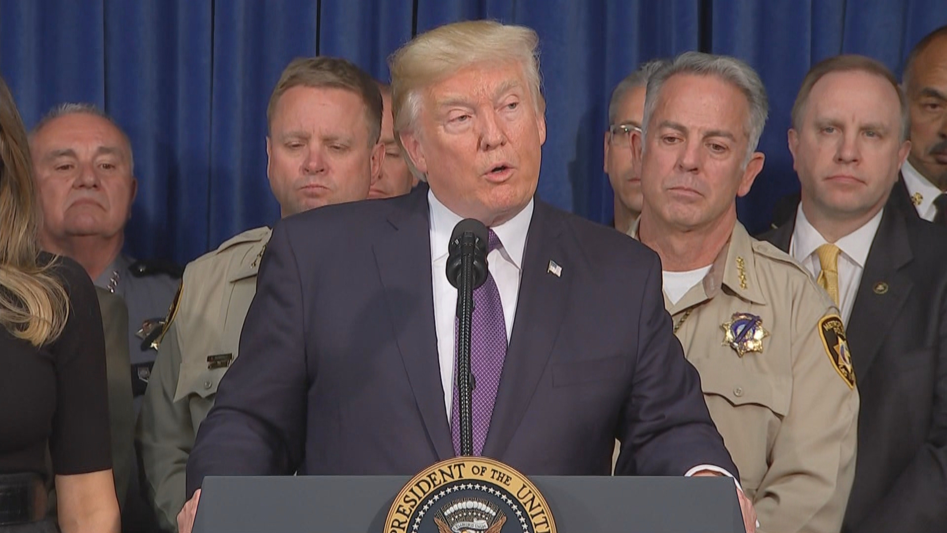 President Donald Trump speaks Wednesday, Oct. 4, 2017, at Las Vegas Metropolitan Police Department headquarters. (KSNV)