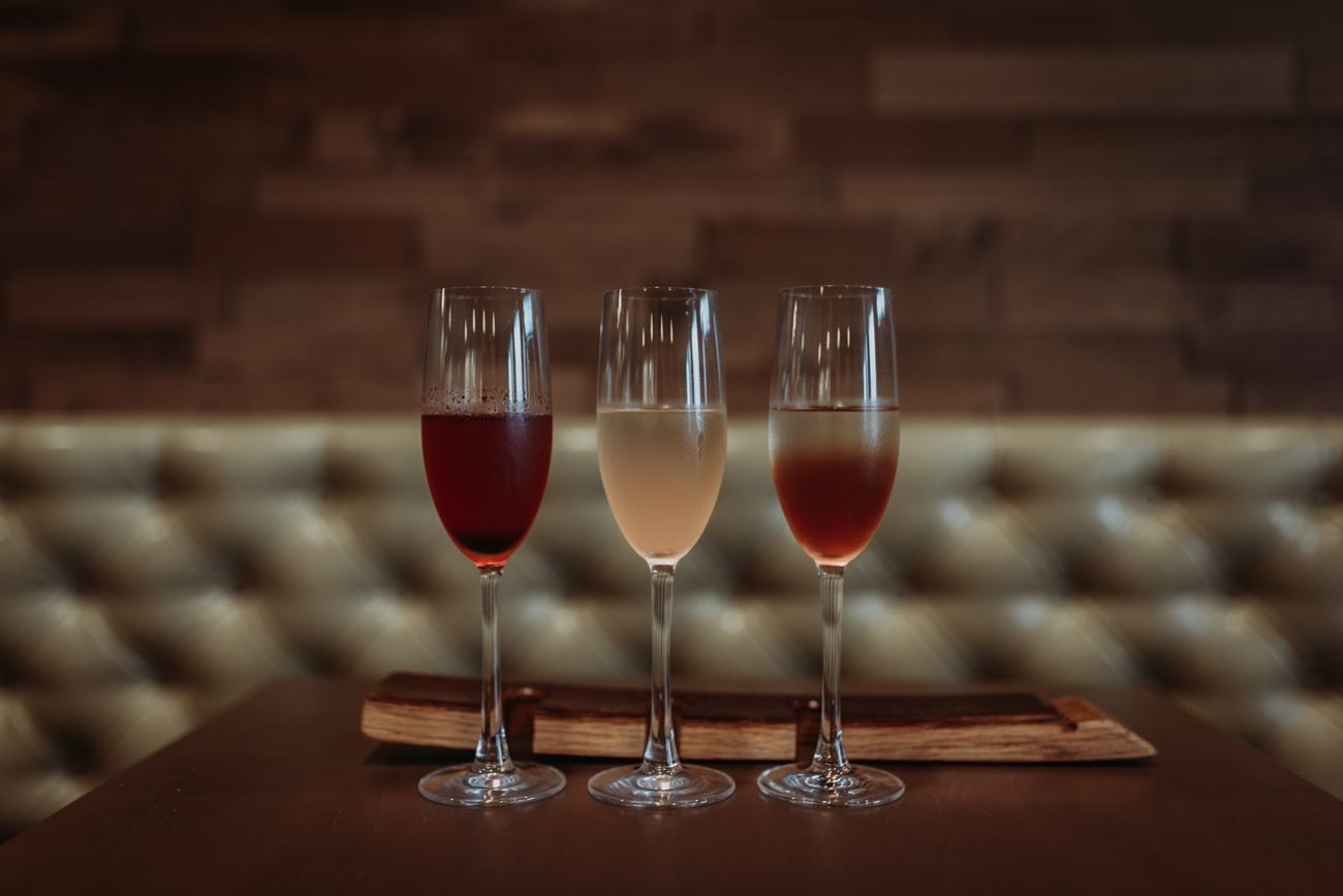 Mimosa flight featuring a black currant mimosa, guava mimosa, and a Luxardo cherry mimosa / Image: Brianna Long // Published: 5.17.18