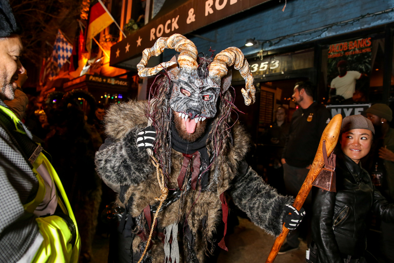Krampus  is like the German anti-Santa Claus. Instead of giving kids Christmas presents, he beats badly behaved youth and drags them back to his lair. However, the Krampuses parading around H Street on December 2 were out for a good reason, raising money for Santa's Cause DC, which gives gift to foster children. Although onlookers could enjoy the parade for free, there was a fundraising  party at Gallery O on H, where revelers could enjoy fire spinning performances, juggling and get up close and personal with both Krampus and Santa Claus. (Amanda Andrade-Rhoades/DC Refined)