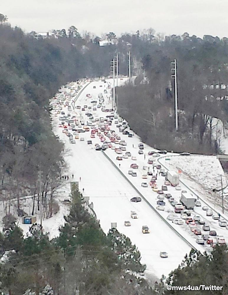 Photo showing the traffic on Highway 280 East in Birmingham during a severe weather storm, Tuesday, January 28, 2014.