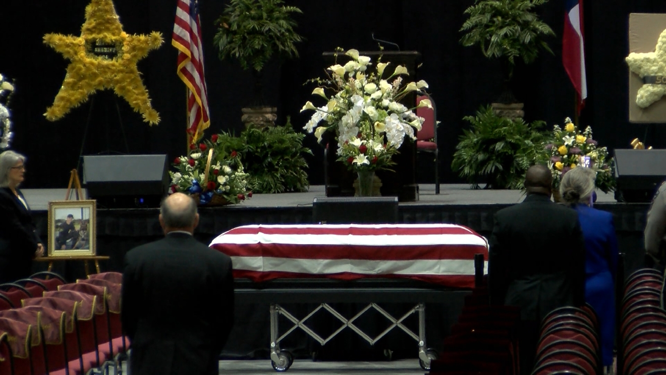 "A memorial service was held Monday at the Macon Centreplex for fallen Bibb County Sheriff's Deputy Investigator Anthony ""TJ"" Freeman, who was killed in the line of duty on Thursday / Chris Hinson (WGXA)"