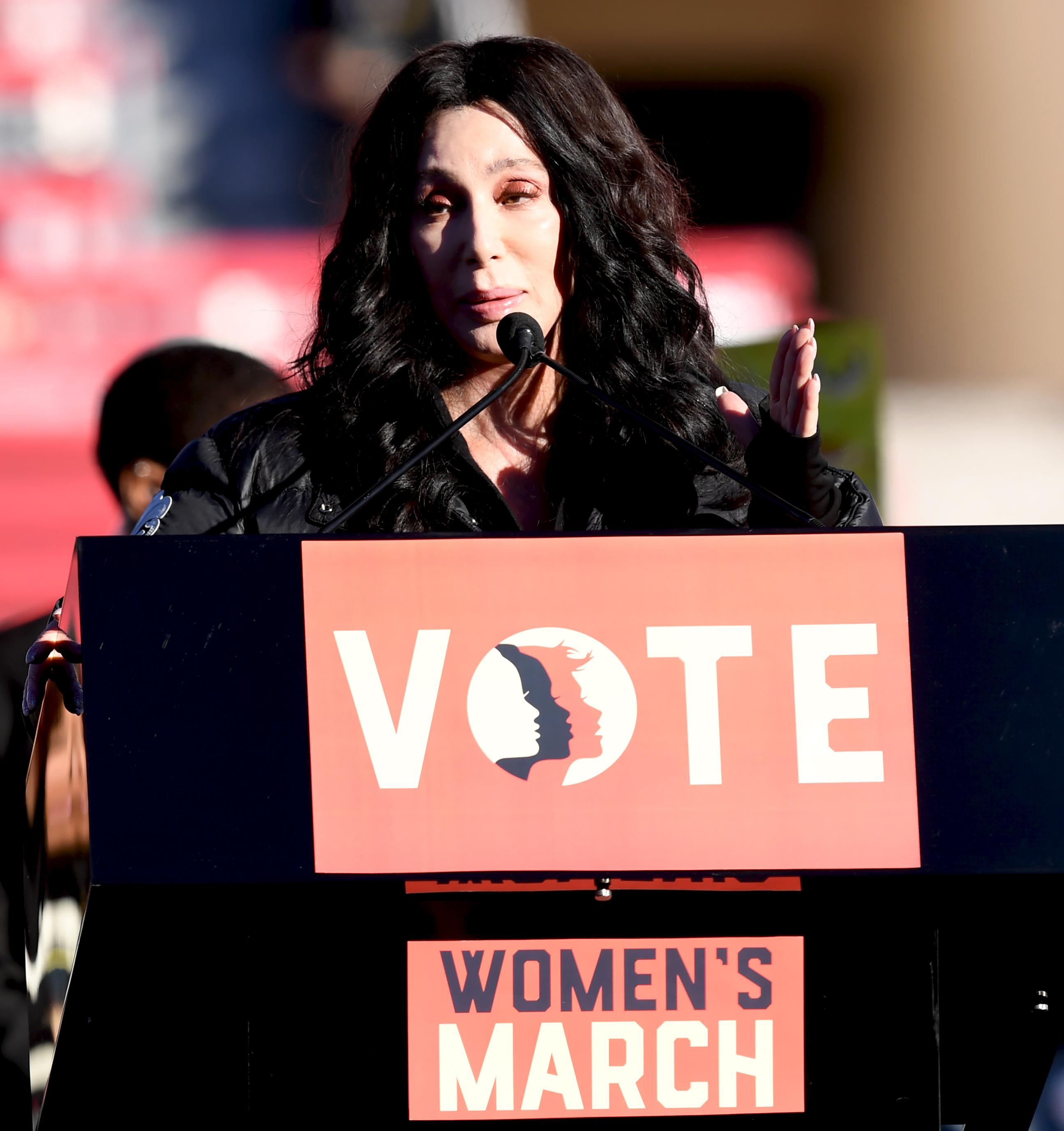 The one-and-only Cher speaking at the Women's March Power to the Polls Rally at Sam Boyd Stadium in Las Vegas. Sunday, January 21, 2017. CREDIT: Glenn Pinkerton/Las Vegas News Bureau