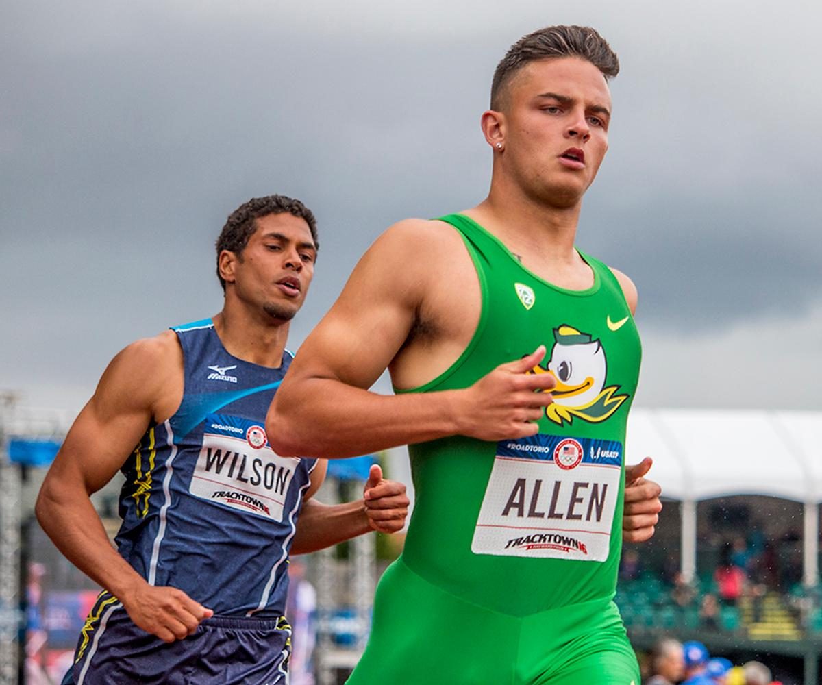 Ryan Wilson and Oregon Duck Devon Allen run through the finish of the men�s 110 meter hurdle prelims. Day Eight of the U.S. Olympic Trials Track and Field continued on Friday at Hayward Field in Eugene, Ore. and will continue through July 10. Photo by Katie Pietzold