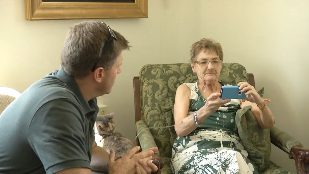 "Shirley Teter speaks with News 13's Evan Donovan on September 15, 2016.  New video of the incident captures the moments just before Shirley Teter said she was ""cold-cocked"" by 73-year-old Richard Campbell of South Carolina.  It's not clear what leads to the incident, and the video doesn't show whether Campbell actually punched Teter.  The video, captured by Bill Fiesser, was posted on Facebook. (Photo credit: WLOS staff)"