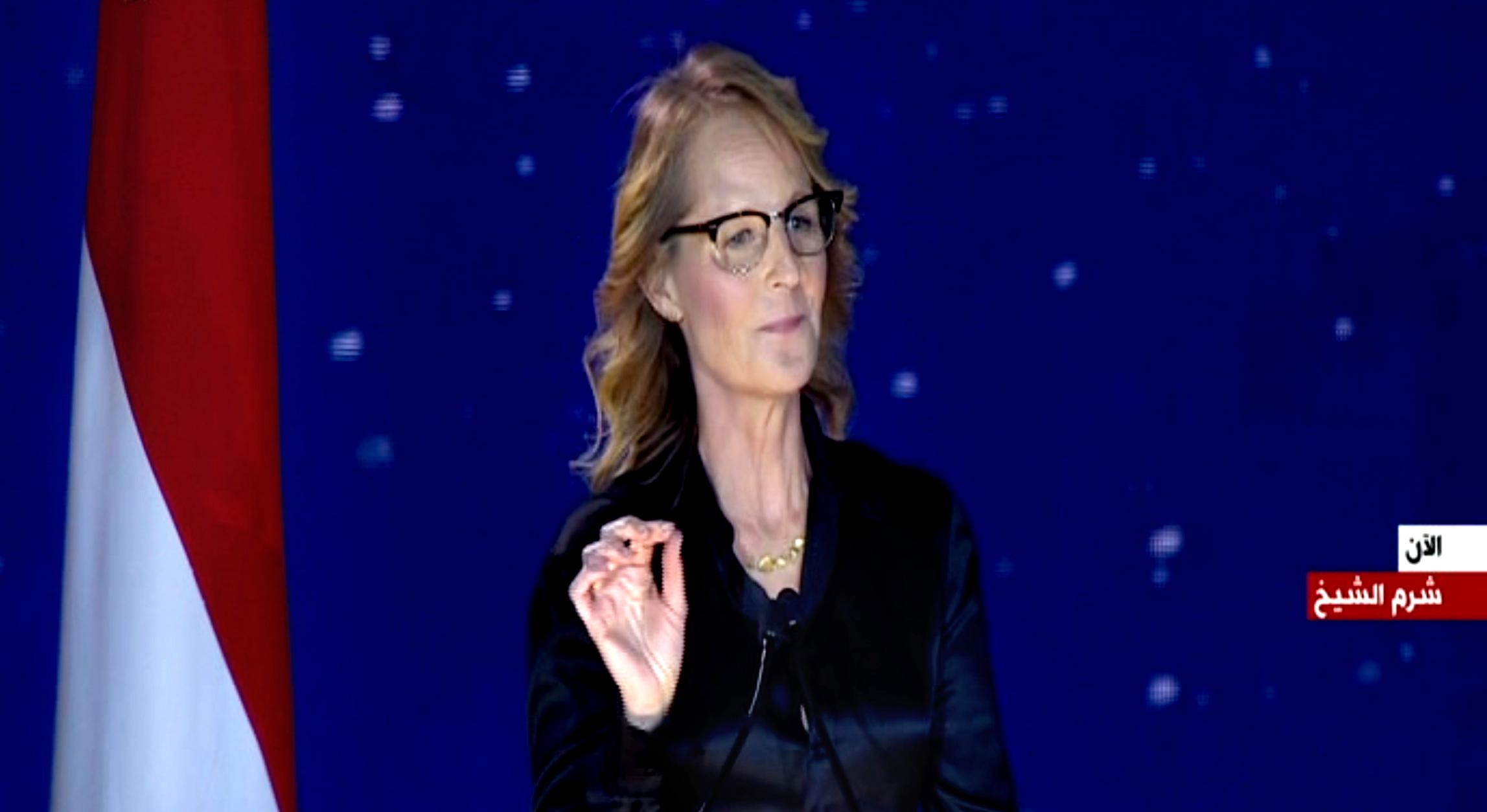This Nov. 5, 2017 image taken from video, shows American actress Helen Hunt speaking during a government-organized youth conference in the Red Sea resort of Sharm el-Sheikh, Egypt. (AP Photo /CAPITAL BROADCAST CENTER)