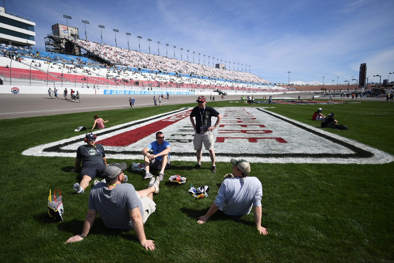 Race fans sit in the infield before the Monster Energy NASCAR Cup Series Kobalt 400 Sunday, March 12, 2017, at the Las Vegas Motor Speedway. (Sam Morris/Las Vegas News Bureau)