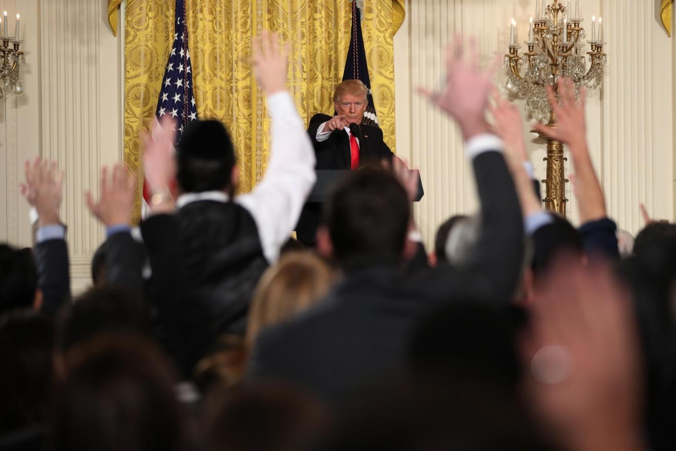 President Donald Trump calls on a reporter during a news conference, Thursday, Feb. 16, 2017, in the East Room of the White House in Washington. (AP Photo/Andrew Harnik)