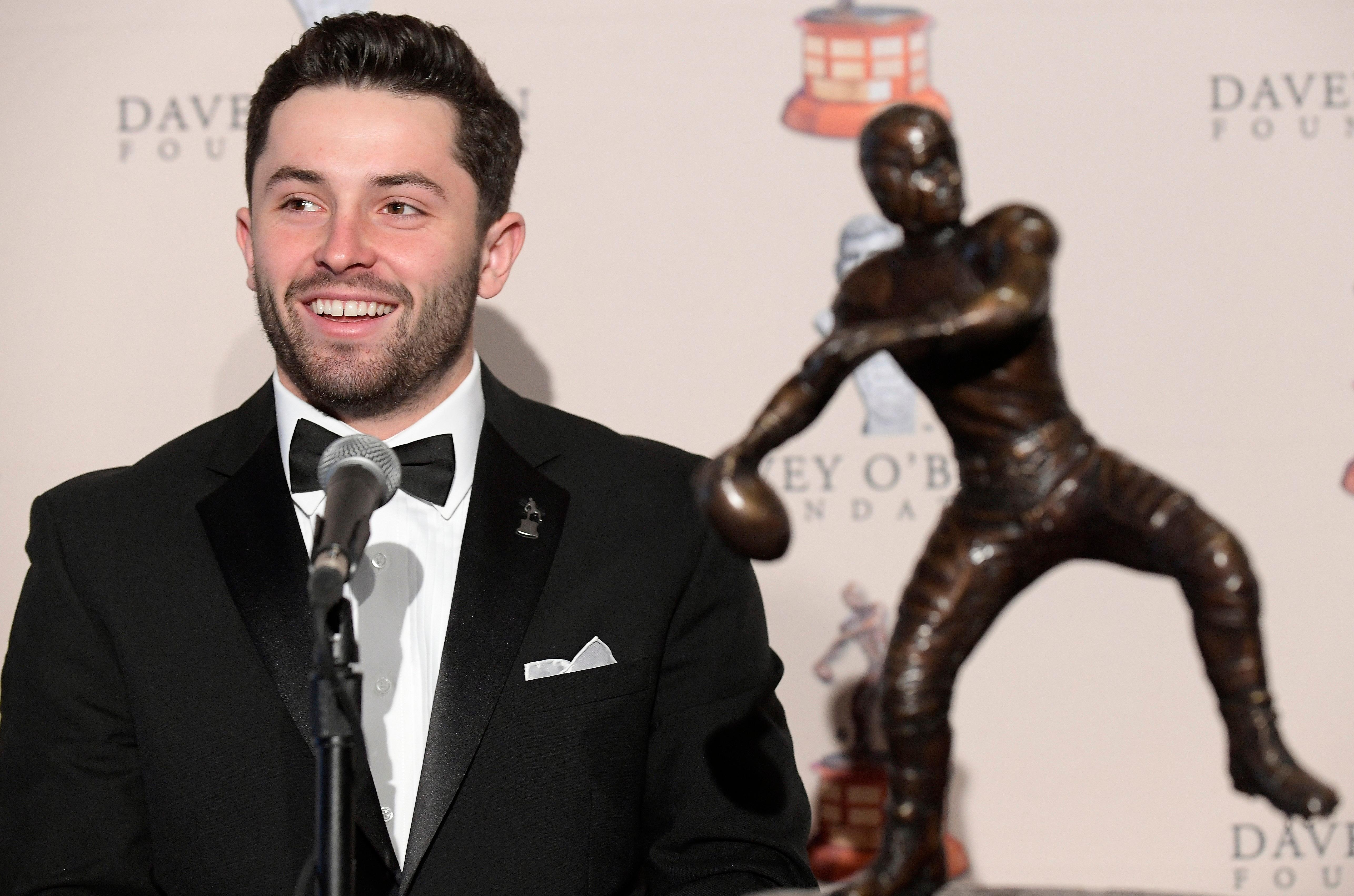 The Davey O'Brien National Quarterback Award winner Baker Mayfield attends a news conference at the Fort Worth Club in Fort Worth, Texas, Monday, Feb. 19, 2018. (Max Faulkner/Star-Telegram via AP)