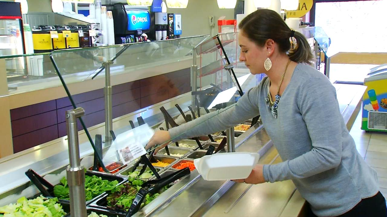 Pardee employee Allea Hawkins said she tries especially hard this time of year to make good choices for lunch in the hospital cafeteria. (Photo credit: WLOS Staff)